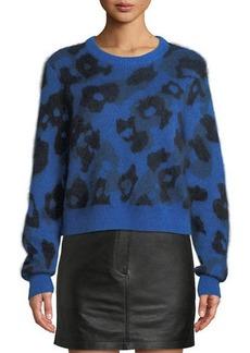 Rag & Bone Leopard-Print Mohair-Blend Crewneck Sweater