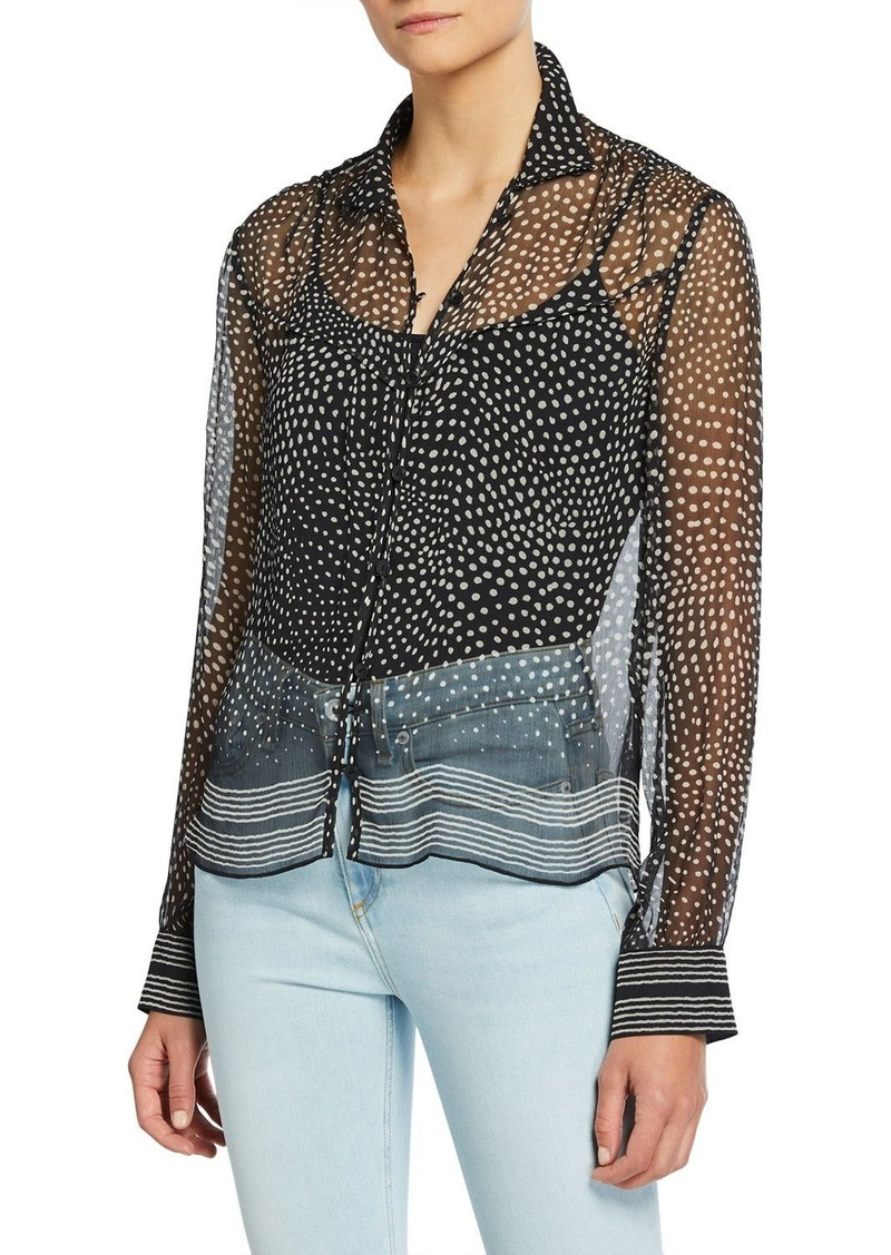 rag & bone Libby Printed Button-Front Silk Top