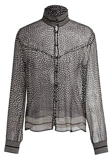 rag & bone Libby Sheer Silk Polka Dot Blouse