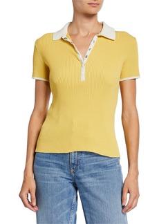 rag & bone Libby Short-Sleeve Ribbed Polo Shirt