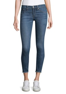 Rag & Bone Lucky Rouge Mid-Rise Skinny Jeans With Frayed Hem