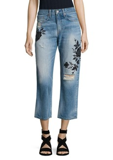 Marilyn Embroidered High-Rise Cropped Straight-Leg Jeans