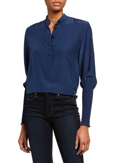 rag & bone Maris Long-Sleeve Silk Popover Blouse