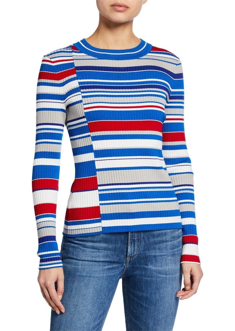 rag & bone Mason Striped Crewneck Long-Sleeve Rib Top