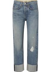 rag & bone Maya Distressed Cropped High-rise Straight-leg Jeans