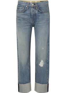 rag & bone Maya Distressed Cropped High-rise Straight-leg Jeans