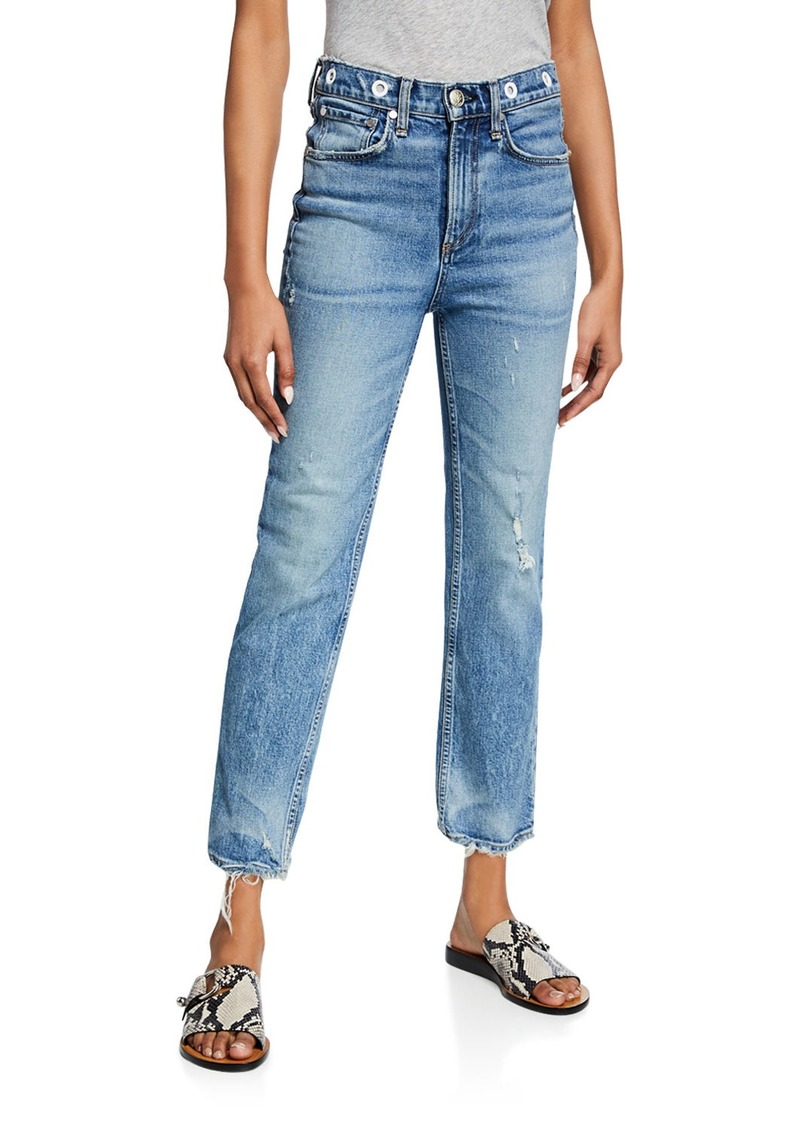 rag & bone Maya High-Rise Ankle Straight Jeans w/ Grommets