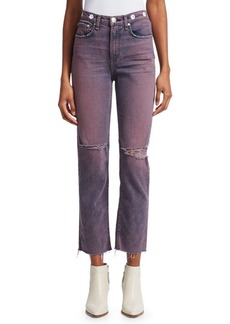 rag & bone Maya High-Rise Distressed Straight Leg Ankle Jeans