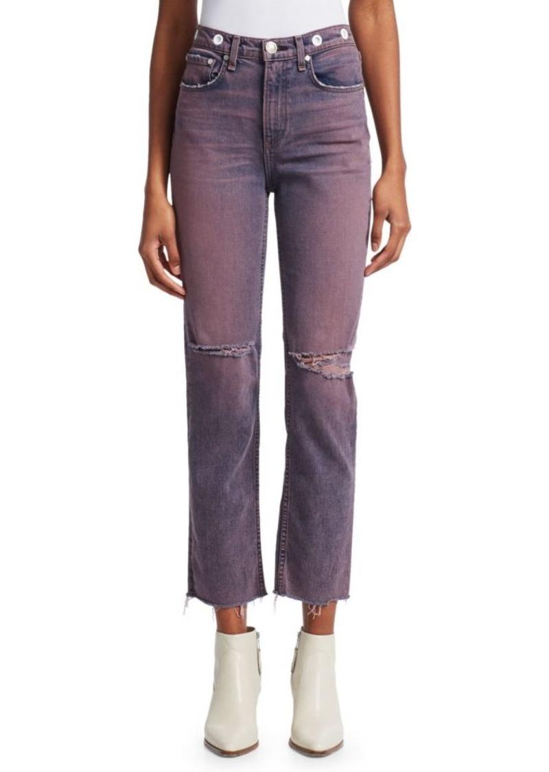 rag & bone Maya High-Rise Distressed Straight Leg Ankle Jeans