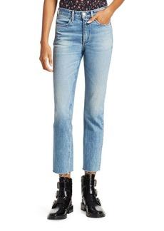 Rag & Bone Medium Wash Ankle Raw Hem Cigarette Jeans