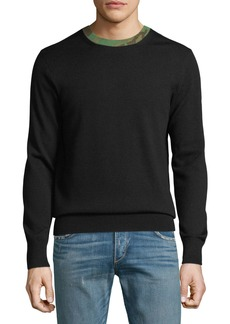 Rag & Bone Men's Camouflage-Trim Wool Sweater
