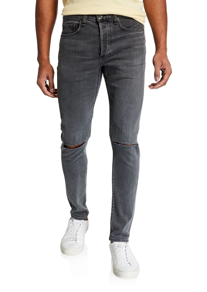 rag & bone Men's Standard Issue Fit 1 Slim-Skinny Jeans w/ Ripped Knees