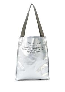 rag & bone metallic logo print shopper tote bag