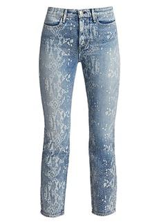 Rag & Bone Mid-Rise Ankle Cigarette Python Print Jeans