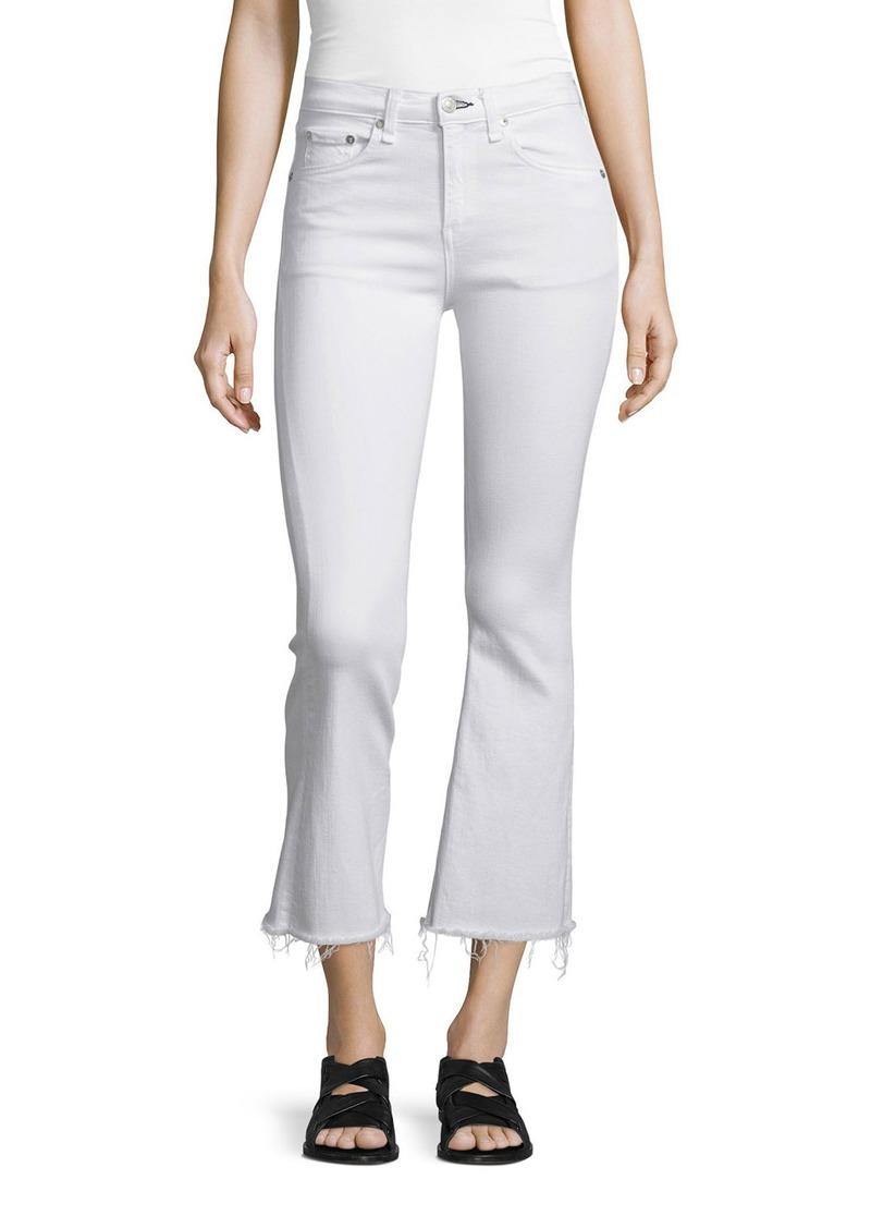 rag & bone Mid-Rise Cropped Flare-Leg Jeans  Bright White