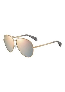 rag & bone Mirrored Metal Aviator Sunglasses