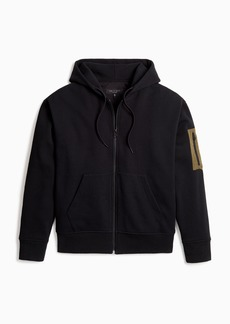 rag & bone Mixed Media Fleece and Nylon Hoodie