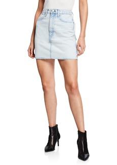 rag & bone Moss High-Rise Denim Skirt w/ Raw Hem