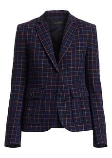 rag & bone Nancie Virgin Wool Blend Check Blazer