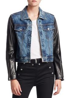 rag & bone Nico Leather & Denim Crop Jacket