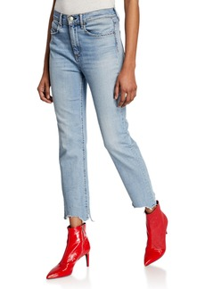 Rag & Bone Nina High-Rise Ankle Cigarette Jeans w/ Chewed Hem