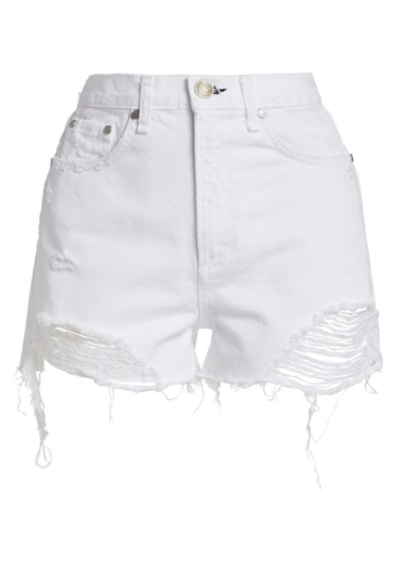 rag & bone Nina High-Rise Distressed Denim Shorts
