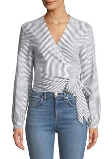 Rag & Bone Prescot Striped Long-Sleeve Wrap Top