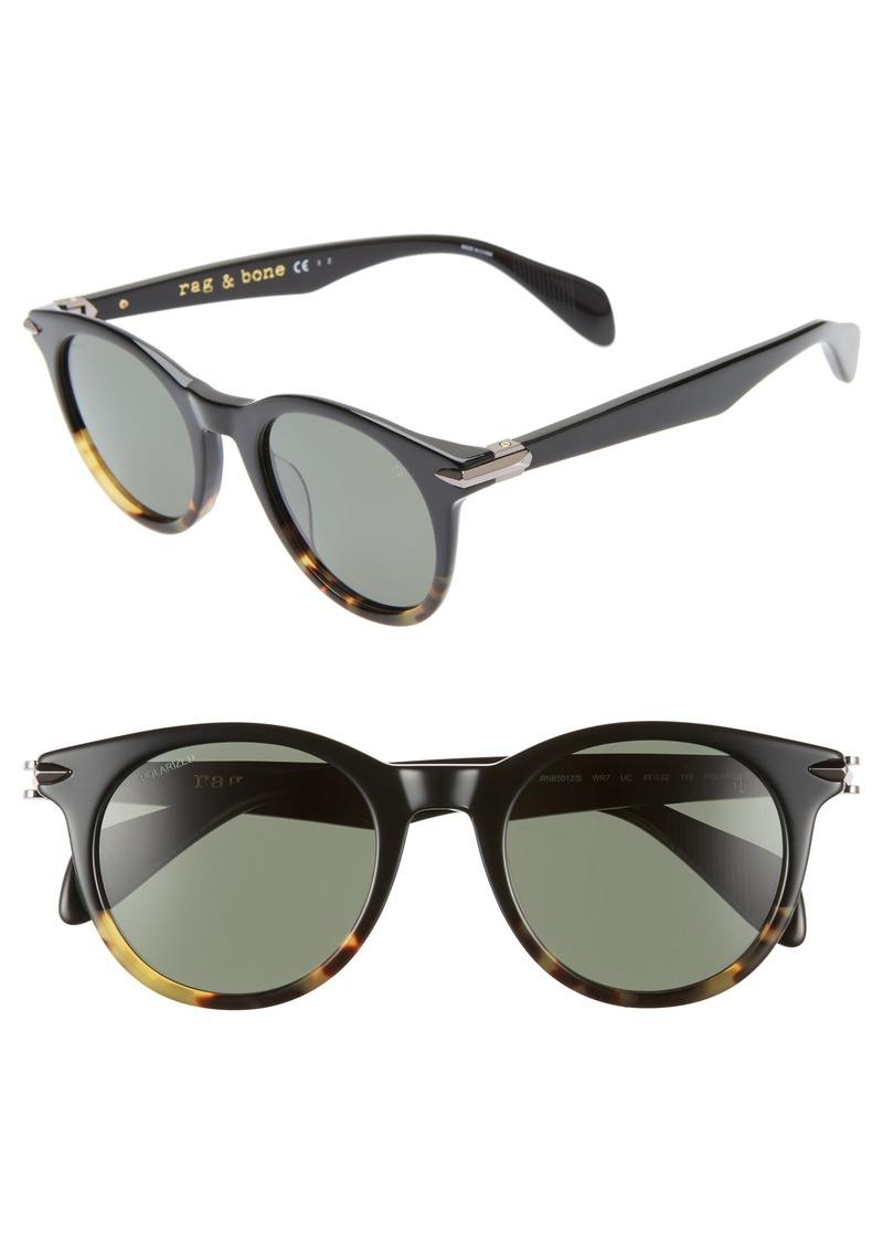 rag & bone 49mm Polarized Round Sunglasses