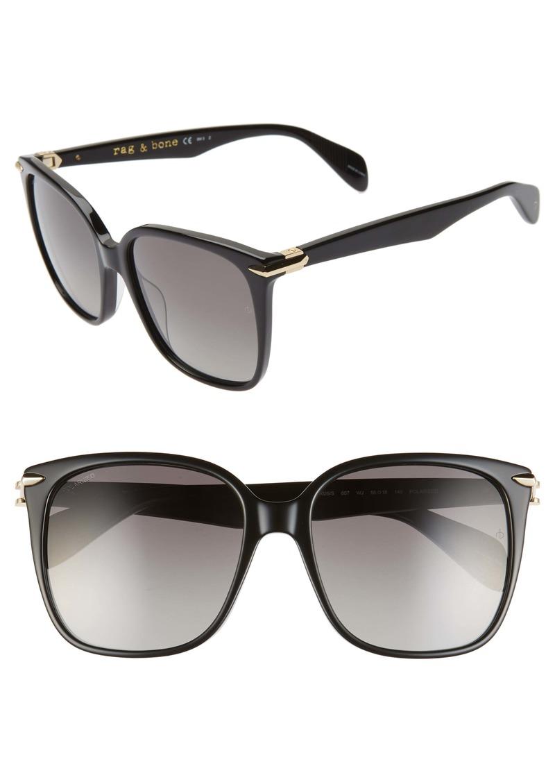 rag & bone 56mm Polarized Square Sunglasses