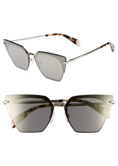 rag & bone 64mm Oversize Mirrored Cat Eye Sunglasses