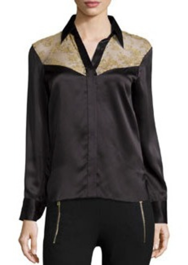 Rag & Bone Angela Floral-Panel Silk Shirt