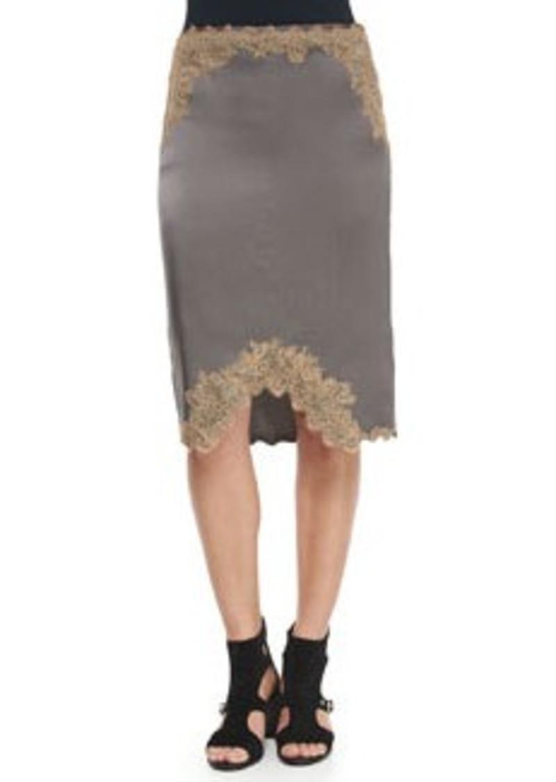 Rag & Bone Izabella Lace-Trim Silk Skirt