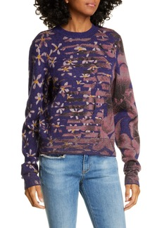 rag & bone Alamo Mixed Floral Jacquard Wool Blend Sweater