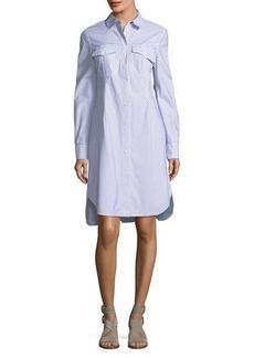 Rag & Bone Albion Button-Front Long-Sleeve Striped Poplin Shirtdress