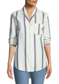 Rag & Bone Alyse Button-Down Striped Cotton-Linen Shirt