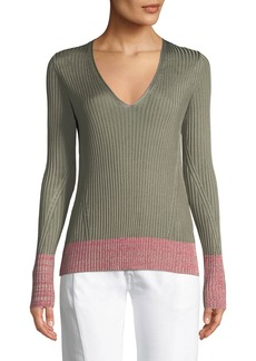 Rag & Bone Alyssa V-Neck Long-Sleeve Ribbed Sweater w/ Contrast Hem