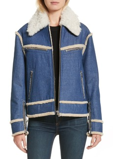 rag & bone Andrew Genuine Shearling Trim Denim Jacket