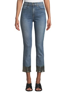 Rag & Bone Ankle Cigarette Jeans w/ Metallic Hem