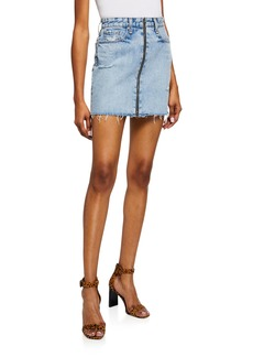Rag & Bone Anna Zip-Front Frayed Denim Mini Skirt