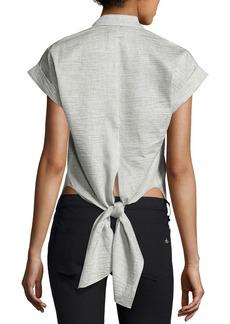 Rag & Bone Ara Short-Sleeve Crinkle Tie-Back Blouse
