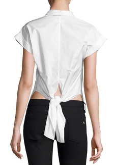 Rag & Bone Ara Short-Sleeve Poplin Tie-Back Blouse