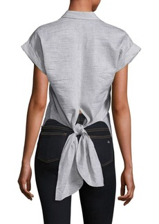 Rag & Bone Ara Textured Tie-Back Blouse