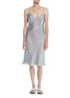Rag & Bone Astrid V-Neck Sleeveless Iridescent Slip Dress