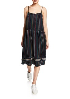 Rag & Bone Austin Striped Button-Front Sleeveless Dress
