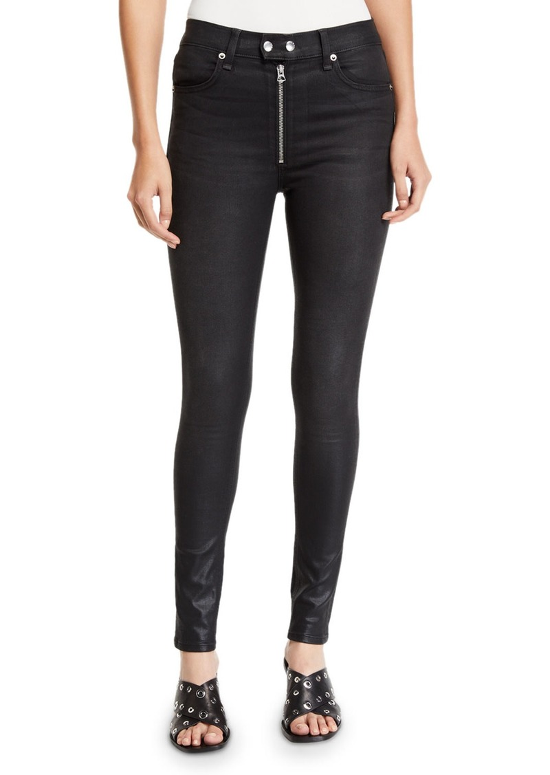 Rag & Bone Baxter Coated Ankle Skinny Jeans with Exposed Zip