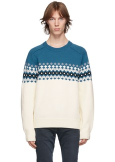 rag & bone Blue & Off-White Merino Fair Isle Lloyd Sweater
