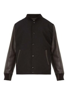 Rag & Bone Boulder leather-sleeve wool-blend bomber jacket