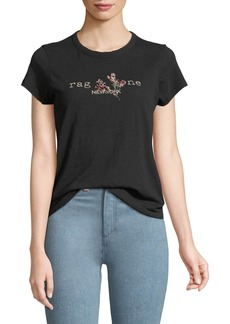 Rag & Bone Bouquet Logo Crewneck Short-Sleeve Cotton T-Shirt
