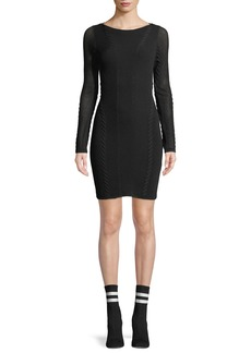 Rag & Bone Brandy Long-Sleeve Mesh Paneled Mini Dress