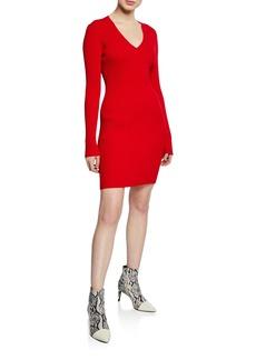 Rag & Bone Brea Ribbed V-Neck Mini Sweater Dress